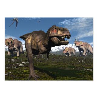 Rex del Tyrannosaurus atacado por el dinosaurio Invitación 12,7 X 17,8 Cm