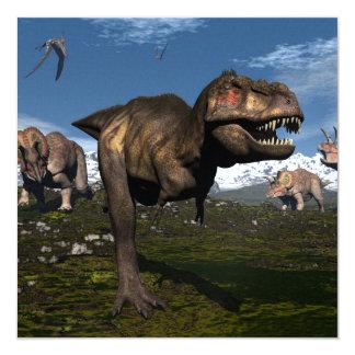 Rex del Tyrannosaurus atacado por el dinosaurio Invitación 13,3 Cm X 13,3cm