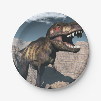 Rex del Tyrannosaurus que ruge en un barranco Plato De Papel
