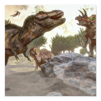 Rex del Tyrannosaurus que se escapa de ataque del Invitación 13,3 Cm X 13,3cm