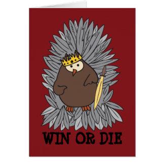 Rey bruto conseguido del búho de pitido tarjeta de felicitación