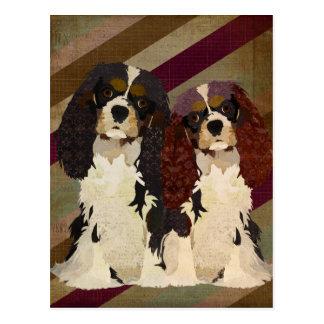 Rey Cavalier Spaniels Retro Postcard Tarjetas Postales
