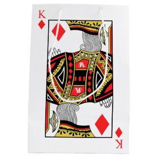 Rey de diamantes - añada su imagen bolsa de regalo mediana
