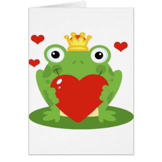 Rey de la rana con el corazón tarjeta de felicitación