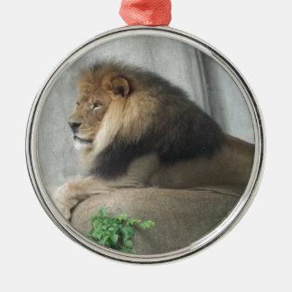 Rey de la selva adorno redondo plateado