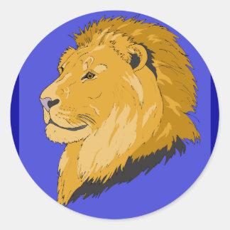 Rey de leones pegatina redonda
