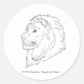 Rey de los leones etiqueta redonda