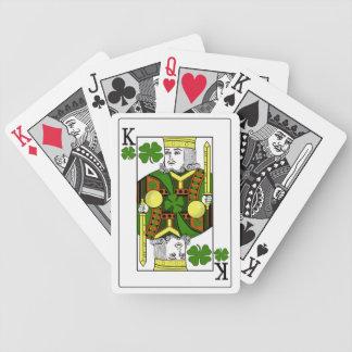 Rey de los tréboles afortunados corona del trébol barajas de cartas