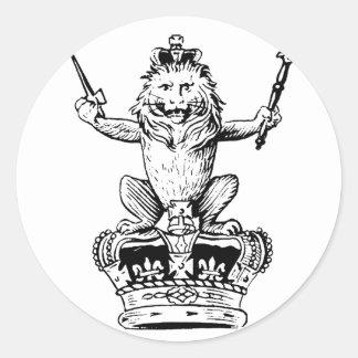 Rey del león - rey de bestias pegatina redonda
