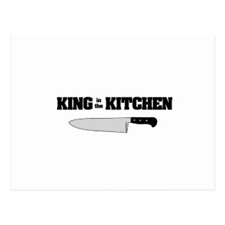 Rey en el cuchillo del cocinero horizontal de la postal