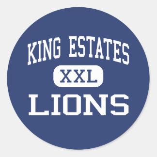 Rey Estates - leones - joven - Oakland California Etiquetas Redondas