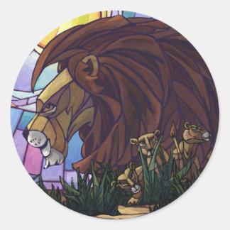 Rey Lion y Cubs Pegatina Redonda