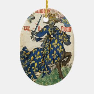 Rey medieval del ornamento de Francia Adorno Navideño Ovalado De Cerámica