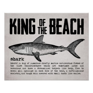 Rey Shark Definition de la playa del vintage Póster