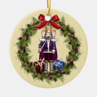 Rey Wreath Round Christmas Ornament del ratón Adorno Navideño Redondo De Cerámica