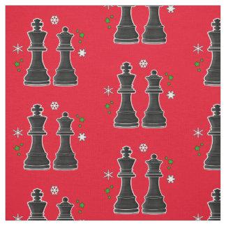 Rey y reina del ajedrez en la Navidad Tela