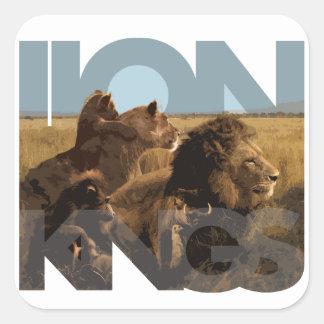Reyes del león calcomania cuadradas personalizadas