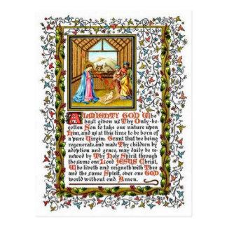 Rezo cristiano con natividad postal