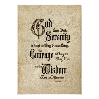 Rezo de la serenidad: Caligrafía, antigüedad, Invitación 12,7 X 17,8 Cm
