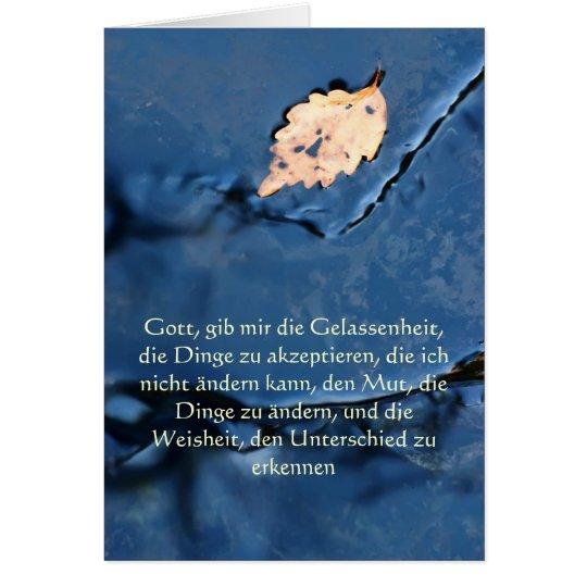Rezo de la serenidad en tarjeta alemana, pacífica