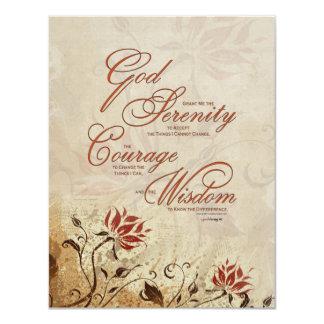Rezo de la serenidad: Floral oxidado, Invitación 10,8 X 13,9 Cm