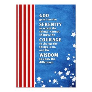 Rezo de la serenidad: Los E.E.U.U. patrióticos, Invitación 12,7 X 17,8 Cm