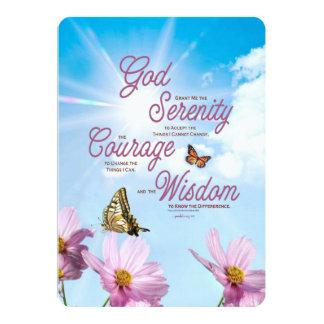 Rezo de la serenidad: Mariposas, flores rosadas, Invitación 12,7 X 17,8 Cm