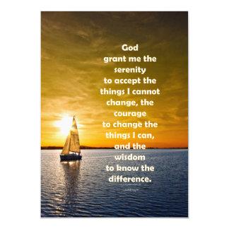 Rezo de la serenidad: Velero en el océano, Invitación 12,7 X 17,8 Cm