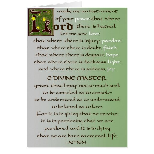 Rezo de la tarjeta del católico de St Francis