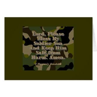 Rezo del hijo del soldado tarjeta de felicitación