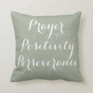 Rezo, positividad, almohada de la tipografía de la