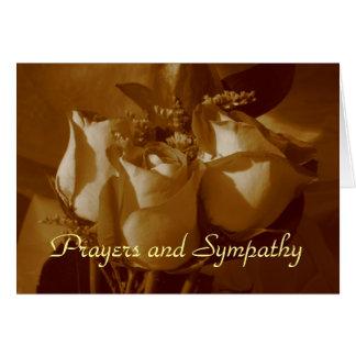 Rezos y condolencia - trío color de rosa en sepia tarjetas