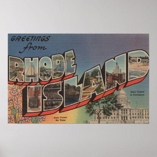 Rhode Island (Capital del Estado/flor) Posters