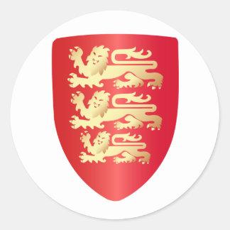 Richard el escudo del corazón del león en rojo+fal pegatina redonda