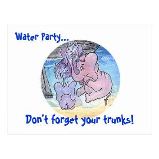 ¡Riegue al fiesta…, no olvide sus troncos! Postal