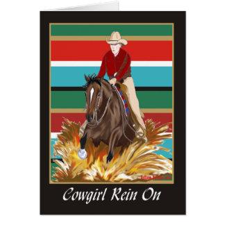 Rienda de la vaquera en tarjeta en blanco