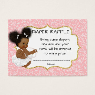 Rifa afroamericana del pañal de la fiesta de tarjeta de negocios
