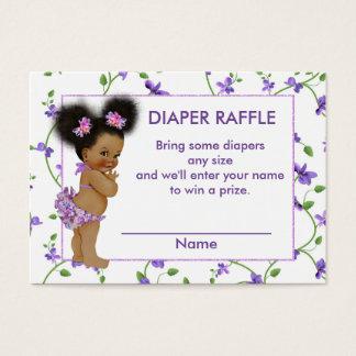 Rifa afroamericana del pañal de la niña tarjeta de negocios