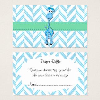 Rifa del pañal de la ducha del bebé de la jirafa tarjeta de visita