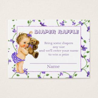 Rifa del pañal de la fiesta de bienvenida al bebé tarjeta de negocios