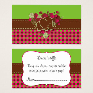Rifa del pañal de la tela escocesa del elefante tarjeta de visita