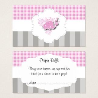 Rifa rosada y blanca de la tela escocesa y del tarjeta de visita