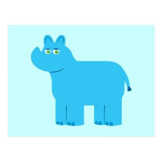Rinoceronte azul lindo postal