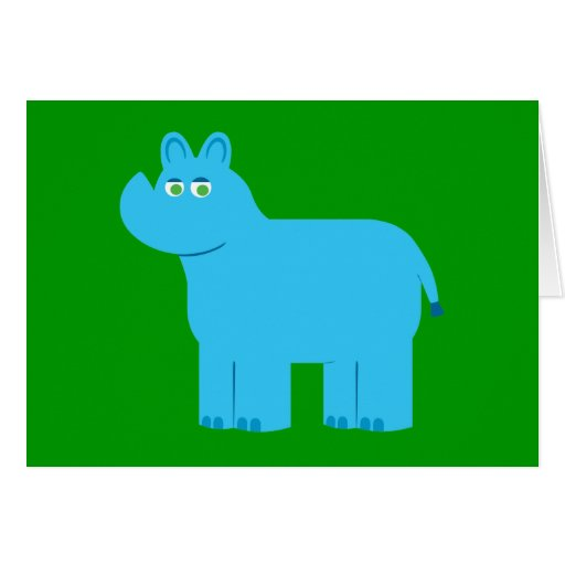 Rinoceronte azul lindo tarjetón