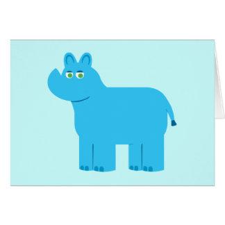 Rinoceronte azul lindo tarjeta de felicitación