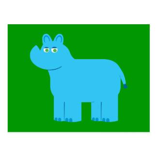 Rinoceronte azul lindo tarjetas postales