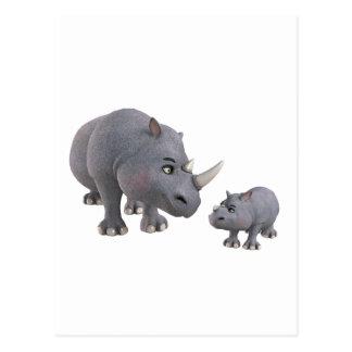 Rinoceronte de la madre y del hijo del dibujo postal
