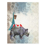 Rinoceronte del vintage tarjeta postal