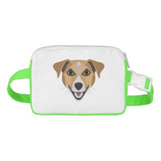Riñonera Perro Terrier sonriente del ilustracion