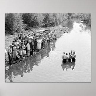 Río Baptism, 1940. Foto del vintage Póster
